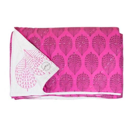 Harare-Leaf-Fuchsia-Oni-Fabrics-SS17 - Quilts - oni earth-kind fabrics