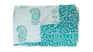 Jaipur-Turquoise-Quilt - Suitable for a Single Bed, 140x210cms - Handblock printed - Non-toxic - eco-friendly dyes - Weight: 1 kg = Oni Earth-kind Fabrics