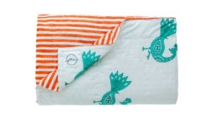 Peacock & Stripes Children's Quilt - Suitable for a Single Bed, 140x210cms - Handblock printed - Non-toxic - eco-friendly dyes - Weight: 1 kg = Oni Earth-kind Fabrics