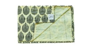 Harare-Leaf-Kantha - Suitable for a Single Bed, 140x210cms - Handblock printed - Non-toxic - eco-friendly dyes - Weight: 1 kg = Oni Earth-kind Fabrics